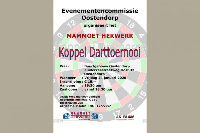 Koppel darttoernooi in Oostendorp