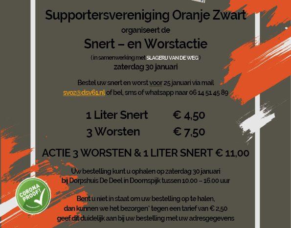 Snert en worstactie supportersvereniging Oranje Zwart